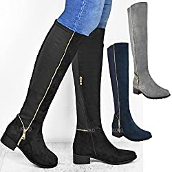 fashion thirsty ladies womens new flat low heel pull on high over the knee stretch fur zip boots shoes size - 51z8ckC01LL - Fashion Thirsty Ladies Womens New Flat Low Heel Pull On High Over The Knee Stretch Fur Zip Boots Shoes Size