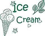 GRAZDesign 620387_57_061 Wandtattoo für Küche Eis Ice Cream | Für Küchen-Wände - Bäckereien - Cafeteria - Eisdiele | für Küchen-Rückwände aus Fliesen - Möbel- Schränke (72x57cm//061 grün)