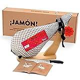 Jamon-Box Nr. 1 - Serrano Schinken 4,5 Kg im Geschenkkarton mit Zubehör   Schinken-Set inklusive Schinkenständer, Messer & Schneide-Anleitung   ideal für Schinken-Einsteiger & als Geschenk