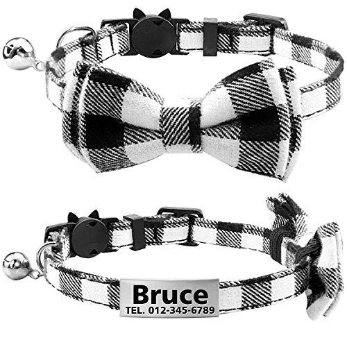 TagME Personalisierter Katzenhalsband mit Sicherheitsverschluss & Krawatte, Katzenmarken aus Edelstahl Gravur mit Name und Telefonnummer,Schwarz