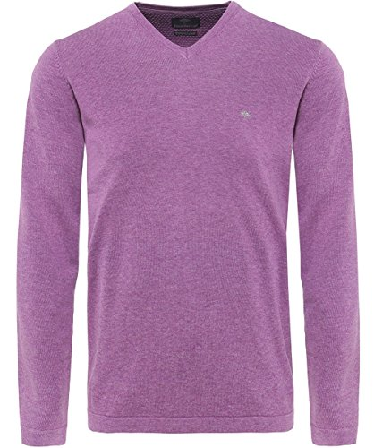 Fynch-Hatton Hommes Pull coton col v Lilas Lilas
