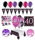 Feste Feiern Geburtstagsdeko Zum 40 Geburtstag I 31 Teile All in One Set Wimpel Konfetti Luftballons Pink Schwarz Violett Party Deko Happy Birthday