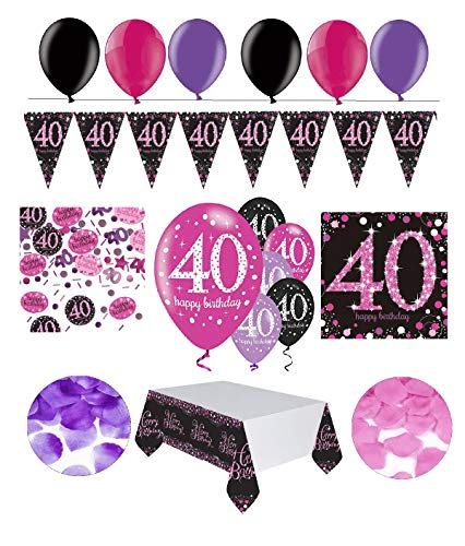 Fixed celebrate decorative figure for 40 birthday | Complete Birthday Decoration 40 years | 31 pieces pink black purple with balloons for parties Happy Birthday Set, 40