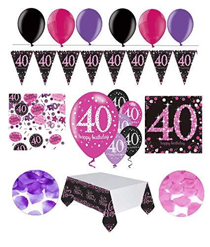 Feste Feiern Geburtstagsdeko 40. Geburtstag | 31 Teile Deko-Set Luftballon Wimpel Girlande Konfetti Serviette Tischdecke Pink Schwarz Violett metallic Party-Set