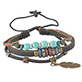 MJARTORIA European Style Feather Pendant Imitation Turquoise Beads Genuine Leather Cord Multi Stands Charm Bracelet (Coffee)
