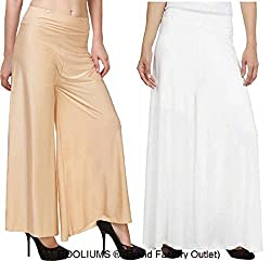 Rooliums Womens Trendy and Stylish Palazzo Pack of 2 (Beige,White, Free Size)