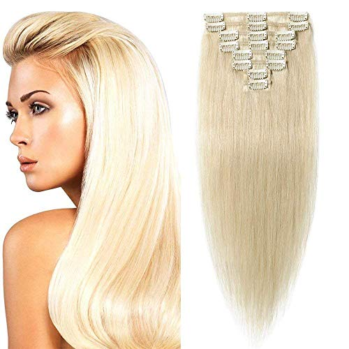 Clip in Extensions Echthaar günstig Haarverlängerung 8 Tressen 18 Clips Remy Human Hair 55cm-75g(#60 Weißblond)
