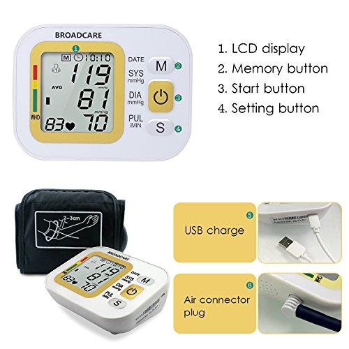 BROADCARE Tensiómetro de Brazo Eléctrico Monitor Digital de Presión Arterial LCD Pantalla para Lectura Fácil Función de Memoria Uso Doméstico Fino con CE & RoHS, Color Blanco