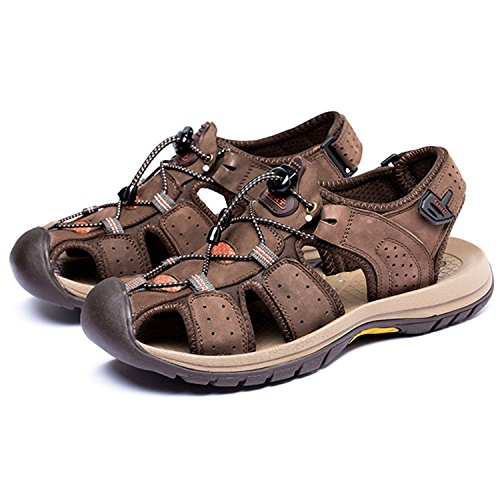 Oasap Men's Leather Closed Toe Flat Beach Hiking Sandals Coffee