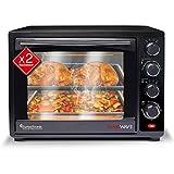 Mini Backofen 35L mit 2x Backblech, Grillofen inkl. elektrischer Drehspieß, Pizza-Ofen mit Innenbeleuchtung, Umluft & Timer Funktion, Doppelverglasung, 1600 Watt + Rezeptheft