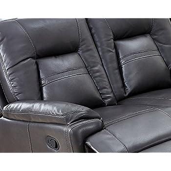 SC Furniture Ltd Dark Grey High Grade Leather Gel Corner Sofa with 2 Recliners LH Facing ROCKFORD GLHF