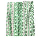 Homyl Strohhalm Gestreifte 25 Retro Papier-Trinkhalme lebensmittelecht Papierstrohhalme - Grün Weiß, 20cm
