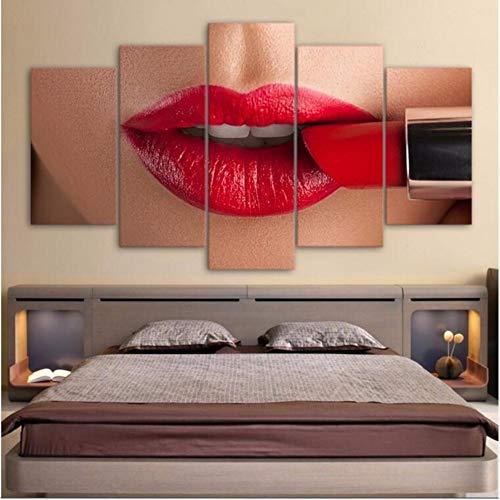 Xzfddn Modulare Bilder 5 Stücke Lip Home Decoration Leinwand Malerei Bestbewertet Charakter Wand Für Wohnzimmer Moderne D 30X40/60/80Cm,With Frame