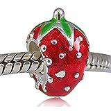 soulbead Fraise Fruits avec émail rouge et vert Charm en argent sterling 925pour bracelets européenne Bracelet Bijoux