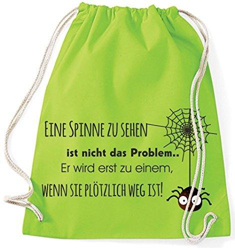 Mein Zwergenland Jutebeutel Eine Spinne zu sehen ist nicht das Problem, 12L, Surfblue Lime