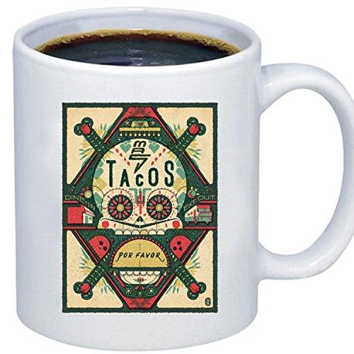 ZMvise Custom Art Sugar Skull Tacos weiße keramik becher cup perfekt weihnachten thanksgiving gfit Plastic Liner Travel Mug
