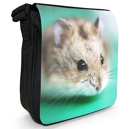 Hamster Piccolo Nero Tela Borsa a tracolla, taglia S Hamster On Green