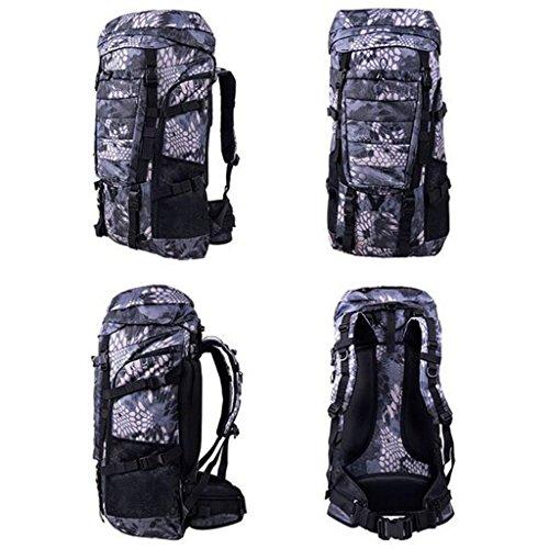AMOS Borsa da montagna con zaino spalla maschio e femmina viaggio sacchetto escursionistico 80L fino zaino camuffamento capacità ( Colore : Black Mang grain ) Black Mang grain