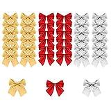 BUZIFU 72 Stück Mini Weihnachtsbaum Bögen Dekorative Schleife Band Bögen Ornamente Weihnachten Schleifen Bowknots Weihnachtsbaum Ornamente für Weihnachtsbaum Hängende Dekoration (Rot, Silber, Gold)