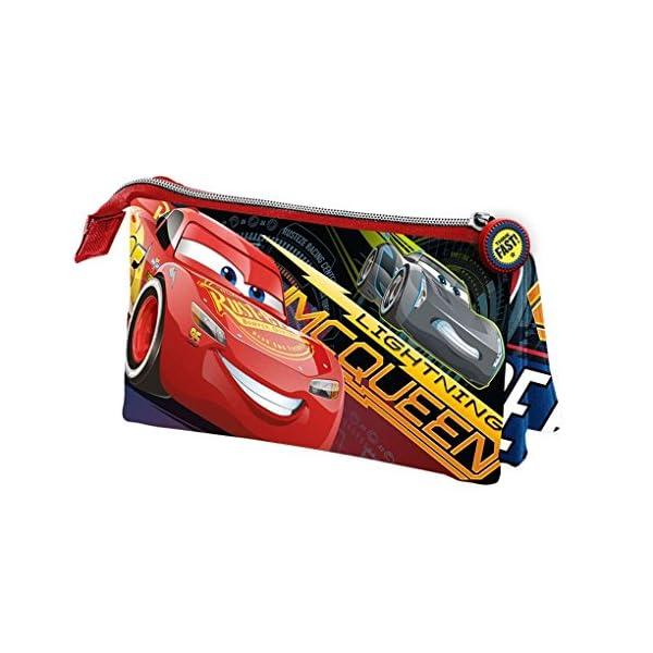Cars 3 Estuche portatodo Triple, Color Rojo, 24 cm (Karactermanía 32486)