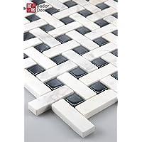 11alfombrillas 1m² mosaico azulejos de mosaico mármol cristal blanco y negro 8mm 30x 30)