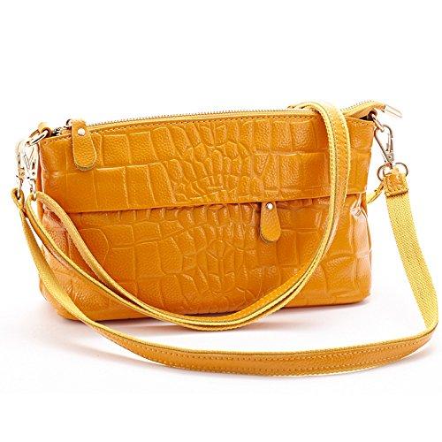 Mefly Da Donna In Pelle Croce Obliqua Bag Nuovo Tempo Libero Donne Nero Bright yellow