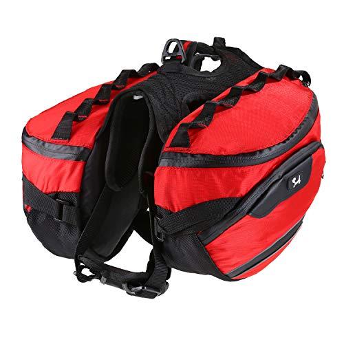 PETTOM 2 in 1 Hundesatteltasche Verstellbare reflektierende abnehmbare rote Hundegeschirre Satteltasche Rucksäcke mit Griff Langlebig Leichtgewicht für Haustiere Outdoor Walking Jagd