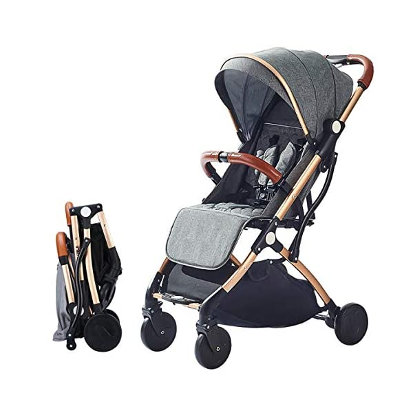 SONARIN Lightweight Stroller,Compact Travel Buggy,One Hand Foldable,Five-Point Harness,Great for Airplane(Dark Grey) SONARIN Size:Suitable from birth up to 25kg, length:66CM, width:48cm, height:98cm.Folding up:60CM*48CM*26CM. Great for Airplane,can be placed in any car boot. Safe:With sturdy aluminum alloy, compact body and five-point seat harness,each stroller has been pressure tested to provide security for each baby. Quality and Design:The backrest of the stroller supports sitting, half lying, lying,all three angles,lengthened and widened sleeping basket. Four wheel independent shock absorbing and built-in bearings make it smoother and quieter. 1