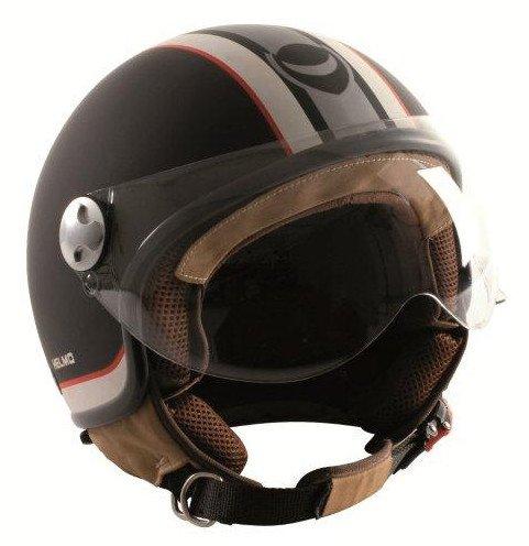 HELMO Casco Demi-Jet Helmetto Visiera Aviatore M Nero