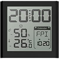 AOLVO Digital higrómetro termómetro interior medidor de humedad y temperatura con gran pantalla y retroiluminación, Multi Función de reloj despertador