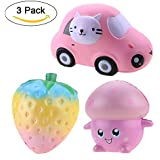 3PCS Jumbo Squishies Rainbow Strawberry / Kawii Car / Pink Fungo Jumbo Slow Rising Squishy Giocattoli profumati Kawaii Squishy Decorazione giocattoli
