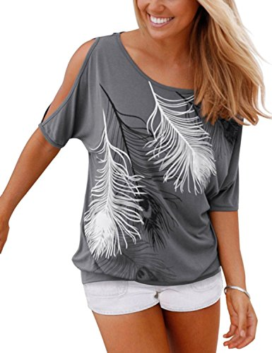 mmer Schulterfrei Kurzarm Feder Druck Muster Tops T-Shirt Bluse Grau L ()