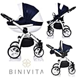 Binivita® Isabel White Collection Kinderwagen Kombikinderwagen Kombi 3 in 1 + Babyschale + Buggy-Kinderbuggy-Sportwagen + Babywagen 14-Teile Set inkl. Kinderwagentasche - Blue-Isabel
