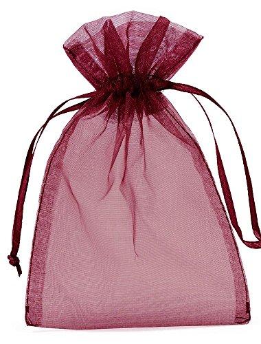 20 bolsitas de organza, bolsas de organza, tamaño 30 x 15 cm, el envoltorio ideal para regalos, elemento decorativo (burdeos)