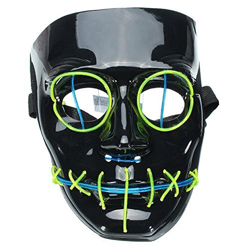 Di&Mi LED Leuchten EL Wire Drahtmaske Cosplay Kostüm Maske für Karneval Fasching Fastnacht Party (Schwarz)