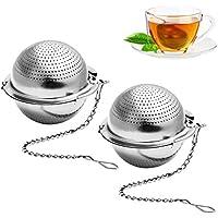 BESTONZON 2 Stück Teesieb 5 cm Teeei mit Kette 304 Edelstahl Teefilter für losen Tee und Mulling Gewürze