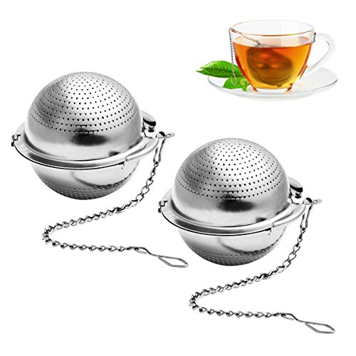 BESTONZON 2 Pack Tea Strainer 5.5 cm Tea Ball Infuser Ultra Fine 304 Stainless Steel Tea Filter for Loose Leaf Tea and Mulling Spices