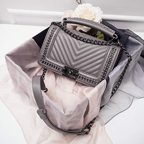 Lwlroyti Frauen Handtasche und Geldbörse,V-förmige rhombische Kettentasche Trend Fashion Handtasche, grau,PU - Kette Schultertasche