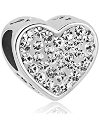 Uniqueen Birthstone Sister Heart Charms Bead fit Charm Bracelet dpbkZ1
