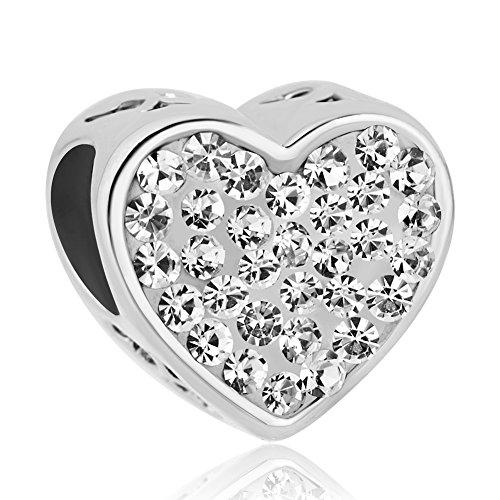 Uniqueen, ciondolo con pietra del mese di nascita, ciondolo a forma di cuore con scritta in inglese 'Sister' per bracciali, rame, colore: White, cod. DPC_MY793