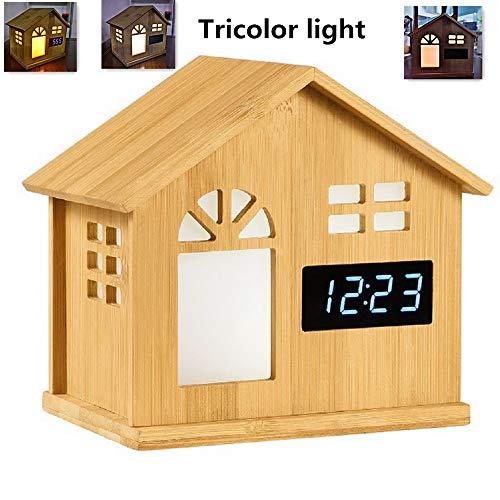 Preisvergleich Produktbild Smart LED Uhr Tischlampe Home Bambus Haus Induktion Nachtlicht Weihnachtsgeschenk Touch Light