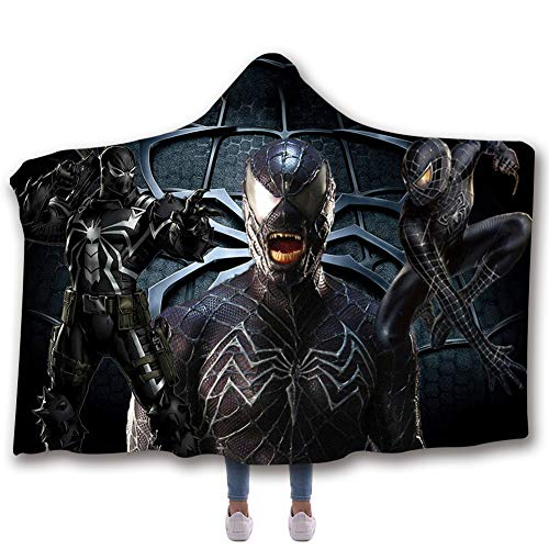 Liebhaber Adult Sweatshirt (SXELODIE Fashion 3D Thicken Hooded Blanket Printed Venom Graphic Hooded Cloak Double Layer Adult and Child,adult150(H) x200(W))