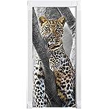 maiestätischer Leopard auf Baum schwarz/weiß als Türtapete, Format: 200x90cm, Türbild, Türaufkleber, Tür Deko, Türsticker
