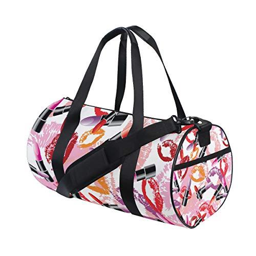 Ahomy Valentinstag Lippenstift Kiss Gym Bag Duffle Bag Sporttasche Reisetasche Reisetasche Wochenende Reisetasche -