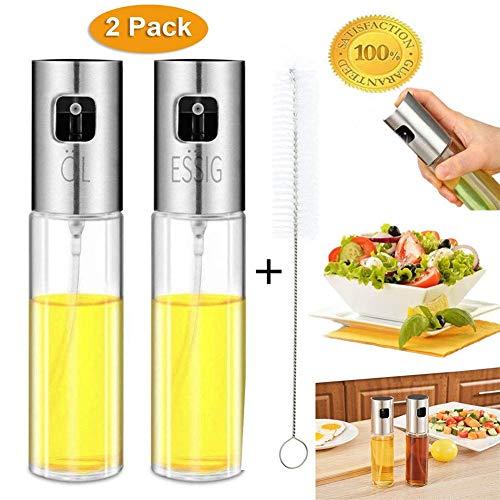 Nifogo Ölsprüher Oil Sprayer Öl Sprüher - Glas Flasche Essig Spender Küche Werkzeug Zerstäuber für Kochen, Salat, BBQ, Pasta, Grill, Gewürz(2x100ml +Bürsten)