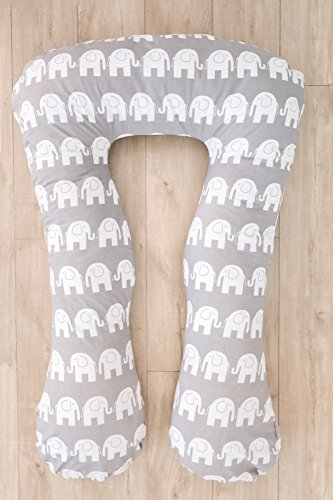 LOOLAY® XXXL Stillkissen Typ A Typ U 330 cm Lagerungskissen Schwangerschaftskissen Relaxkissen ink.Bezug MUSTER: Elefant grau/ Zickzack grau