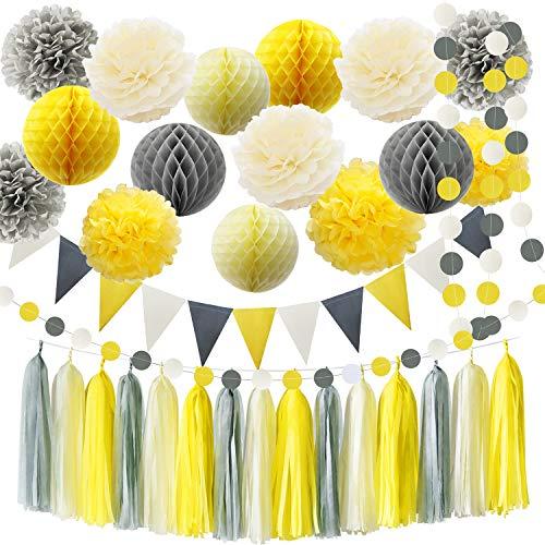 HappyField Du bist Mein Sonnenschein Party Dekoration gelb grau Elefant Baby Dusche Dekorationen Seidenpapier Pom Pom Honeycomb Balls für Bridal Shower Geburtstag Dekorationen (Grau Und Gelb-party Dekorationen)