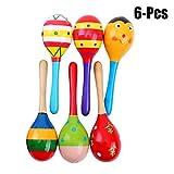 Niños Shaker, Joyibay 6 Piezas Musical Maraca de Madera Partido Educativo Martillo de Arena Para Niños Pequeños (Color Aleatorio)