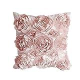 Cosanter Blumen Design Kissenhülle Kissenbezug Kissenbezüge Leinen Sofa Dekokissen 42x42cm Rosa