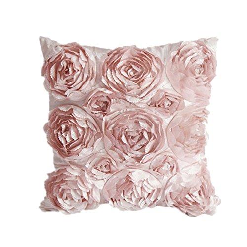 Leisial™ Rosen Kissenbezug Blumen Kissen Cover Gestreift Zierkissenbezüge für Hotel Kissen Rosa 42x42CM